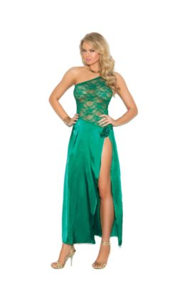 jade, satiny, lacy, gown