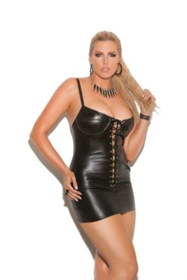 leather dress, plus size, lace up