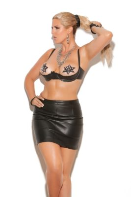 leather shelf bra, plus size