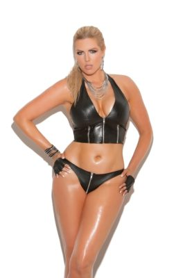 leather halter top, plus size