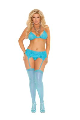 plus size, lace bra, garter belt, g-string