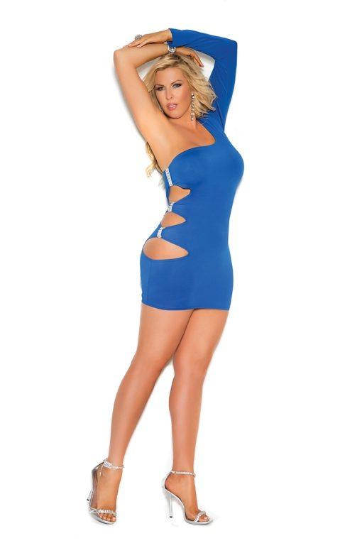 Royal Blue One Sleeve Mini Dress Plus | Foxy Attire